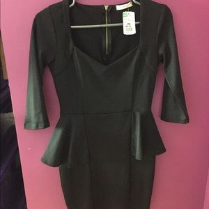 Black 3/4 Sleeve Peplum Mini Dress!